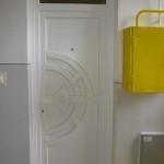 Egyedi méretű rétegragasztott hossztoldott fa bejárati ajtó fix felül világítóval 041